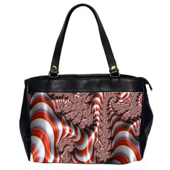 Fractal Abstract Red White Stripes Office Handbags (2 Sides)