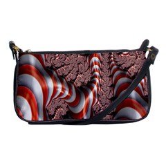 Fractal Abstract Red White Stripes Shoulder Clutch Bags