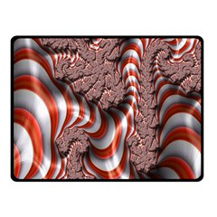 Fractal Abstract Red White Stripes Fleece Blanket (Small)