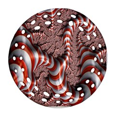 Fractal Abstract Red White Stripes Round Filigree Ornament (Two Sides)