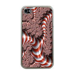 Fractal Abstract Red White Stripes Apple iPhone 4 Case (Clear)