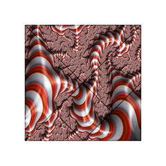 Fractal Abstract Red White Stripes Acrylic Tangram Puzzle (4  x 4 )