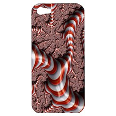 Fractal Abstract Red White Stripes Apple Iphone 5 Hardshell Case