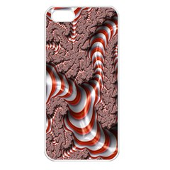 Fractal Abstract Red White Stripes Apple iPhone 5 Seamless Case (White)