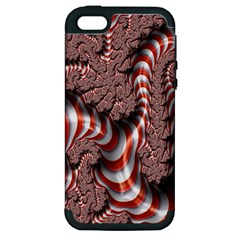 Fractal Abstract Red White Stripes Apple iPhone 5 Hardshell Case (PC+Silicone)