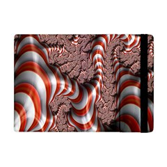 Fractal Abstract Red White Stripes Apple iPad Mini Flip Case
