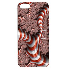 Fractal Abstract Red White Stripes Apple iPhone 5 Hardshell Case with Stand