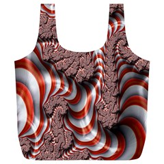 Fractal Abstract Red White Stripes Full Print Recycle Bags (L)