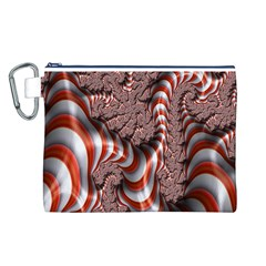 Fractal Abstract Red White Stripes Canvas Cosmetic Bag (L)
