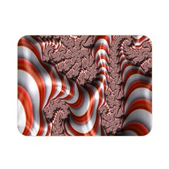 Fractal Abstract Red White Stripes Double Sided Flano Blanket (Mini)