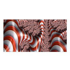 Fractal Abstract Red White Stripes Satin Shawl