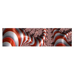 Fractal Abstract Red White Stripes Satin Scarf (Oblong)