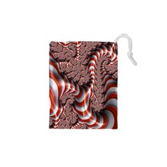 Fractal Abstract Red White Stripes Drawstring Pouches (XS)