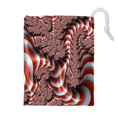 Fractal Abstract Red White Stripes Drawstring Pouches (Extra Large)