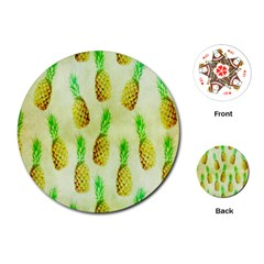 Pineapple Wallpaper Vintage Playing Cards (Round)