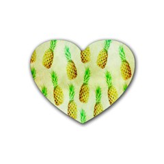 Pineapple Wallpaper Vintage Heart Coaster (4 pack)