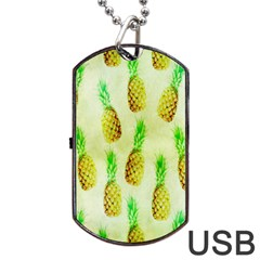 Pineapple Wallpaper Vintage Dog Tag USB Flash (Two Sides)