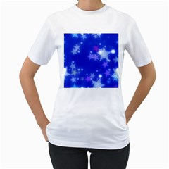 Star Bokeh Background Scrapbook Women s T-Shirt (White) (Two Sided)