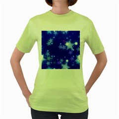 Star Bokeh Background Scrapbook Women s Green T-Shirt