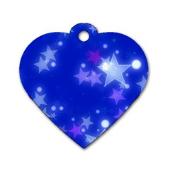 Star Bokeh Background Scrapbook Dog Tag Heart (Two Sides)