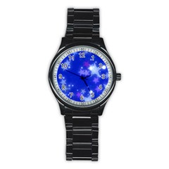 Star Bokeh Background Scrapbook Stainless Steel Round Watch