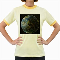 World Mosaic Women s Fitted Ringer T-Shirts