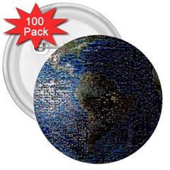 World Mosaic 3  Buttons (100 pack)