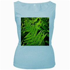 Fern Nature Green Plant Women s Baby Blue Tank Top