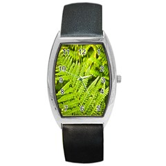 Fern Nature Green Plant Barrel Style Metal Watch