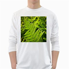 Fern Nature Green Plant White Long Sleeve T-Shirts