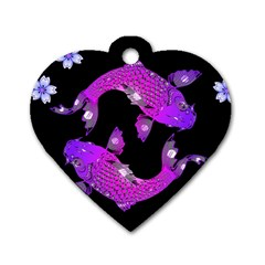 Koi Carp Fish Water Japanese Pond Dog Tag Heart (two Sides)