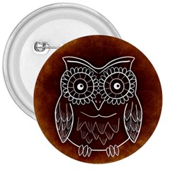 Owl Abstract Funny Pattern 3  Buttons