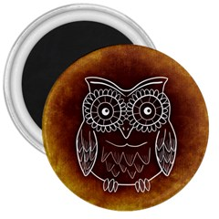 Owl Abstract Funny Pattern 3  Magnets