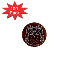 Owl Abstract Funny Pattern 1  Mini Magnets (100 pack)