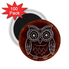 Owl Abstract Funny Pattern 2 25  Magnets (100 Pack)