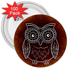 Owl Abstract Funny Pattern 3  Buttons (100 pack)