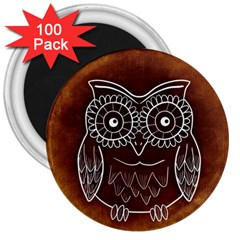 Owl Abstract Funny Pattern 3  Magnets (100 pack)