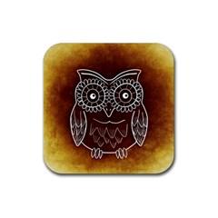 Owl Abstract Funny Pattern Rubber Coaster (Square)