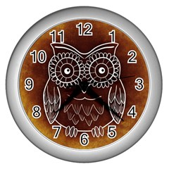 Owl Abstract Funny Pattern Wall Clocks (Silver)
