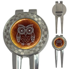 Owl Abstract Funny Pattern 3 In 1 Golf Divots