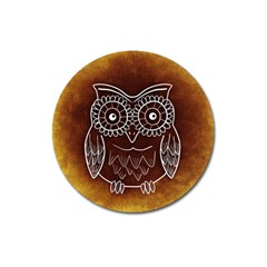 Owl Abstract Funny Pattern Magnet 3  (Round)