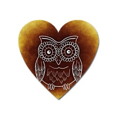 Owl Abstract Funny Pattern Heart Magnet