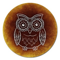 Owl Abstract Funny Pattern Magnet 5  (Round)