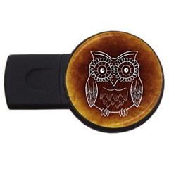 Owl Abstract Funny Pattern USB Flash Drive Round (1 GB)