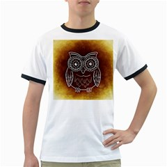 Owl Abstract Funny Pattern Ringer T-Shirts