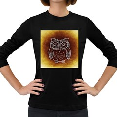 Owl Abstract Funny Pattern Women s Long Sleeve Dark T Shirts