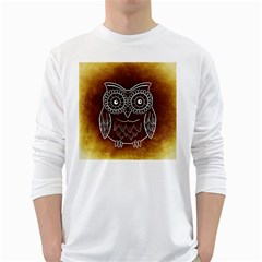 Owl Abstract Funny Pattern White Long Sleeve T-Shirts
