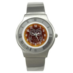 Owl Abstract Funny Pattern Stainless Steel Watch