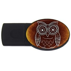 Owl Abstract Funny Pattern USB Flash Drive Oval (4 GB)