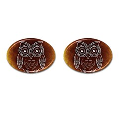 Owl Abstract Funny Pattern Cufflinks (Oval)